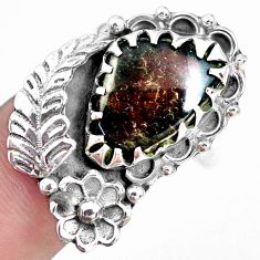 11.54cts solitaire natural ammolite 925 silver solitaire ring size 9 p42535