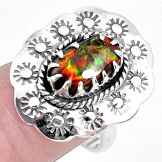3.84cts solitaire natural ammolite 925 silver solitaire ring size 7.5 p42538