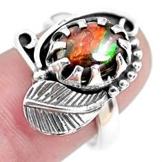 4.82cts solitaire natural ammolite 925 silver solitaire ring size 8 p42539