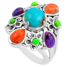 9.03cts southwestern blue arizona mohave turquoise 925 silver ring size 6 c4777