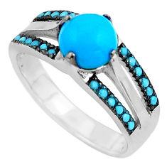 2.21cts southwestern blue arizona mohave turquoise silver ring size 6.5 c4854