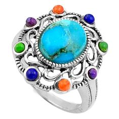 5.13cts southwestern green arizona mohave turquoise 925 silver ring size 6 c4797