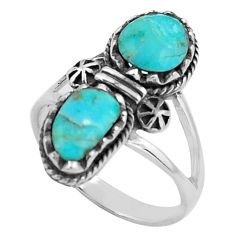 8.03cts southwestern green arizona mohave turquoise silver ring size 9.5 c4794