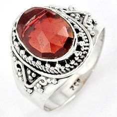SPARKLING 925 STERLING SILVER NATURAL RED RHODOLITE RING JEWELRY SIZE 9 H43561