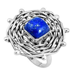 Sterling silver 3.61cts natural blue lapis lazuli solitaire ring size 8 p48384