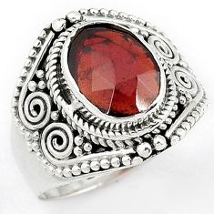 SUBLIME NATURAL RED RHODOLITE 925 STERLING SILVER GEMSTONE RING SIZE 8.5 H43576