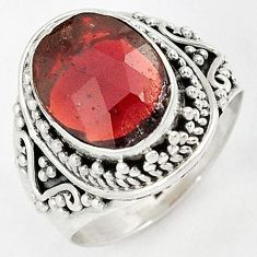 SUPERIOR 925 STERLING SILVER NATURAL RED RHODOLITE RING JEWELRY SIZE 6.5 H43580
