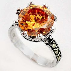 SUPERIOR CHAMPAGNE TOPAZ ROUND MARCASITE 925 STERLING SILVER RING SIZE 9 H10894