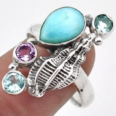 SUPERIOR NATURAL BLUE LARIMAR AMETHYST TOPAZ 925 SILVER SHELL RING SIZE 8 G89797