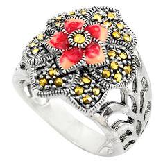 6.89gms swiss marcasite enamel 925 sterling silver flower ring size 6 c4089