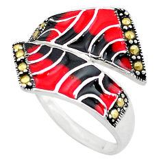 5.02gms swiss marcasite enamel 925 sterling silver ring jewelry size 8 c4094