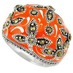 Swiss marcasite orange enamel 925 sterling silver ring jewelry size 6.5 h52304