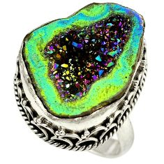Titanium druzy fancy 925 sterling silver ring jewelry size 7 h84393