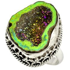 Titanium druzy fancy 925 sterling silver ring jewelry size 8 h84395