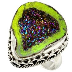 Titanium druzy fancy 925 sterling silver ring jewelry size 6.5 h84397