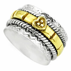 7.69gms victorian 925 silver 14k gold spinner band ring jewelry size 7.5 p76815