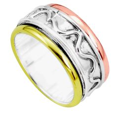 6.26gms victorian 925 silver two tone spinner band ring jewelry size 9 p32268