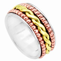 6.24gms victorian 925 silver two tone spinner band ring jewelry size 7 p32289