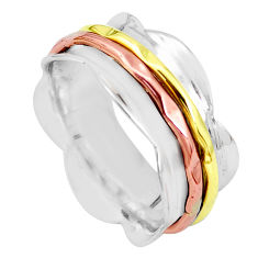 6.26gms victorian 925 silver two tone spinner band ring jewelry size 8.5 p32303
