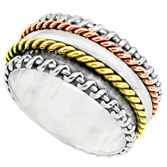 6.02gms victorian 925 silver two tone spinner band ring jewelry size 6 p77022
