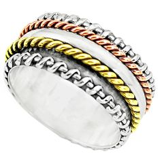 6.01gms victorian 925 silver two tone spinner band ring jewelry size 6 p77038