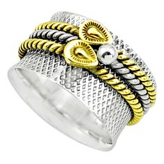 6.68gms victorian 925 sterling silver 14k gold spinner band ring size 9.5 p76829