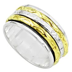 6.47gms victorian 925 sterling silver 14k gold spinner band ring size 7.5 p76872
