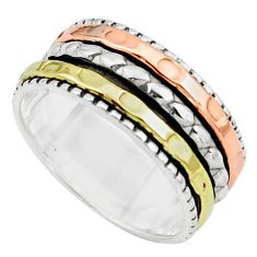 7.02gms victorian 925 sterling silver 14k gold spinner band ring size 9.5 p76881