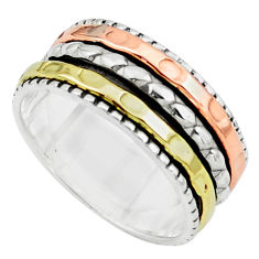 6.48gms victorian 925 sterling silver 14k gold spinner band ring size 7 p76884