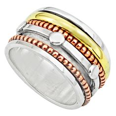 7.48gms victorian 925 sterling silver 14k gold spinner band ring size 9 p76912