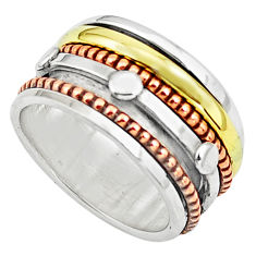 7.02gms victorian 925 sterling silver 14k gold spinner band ring size 6.5 p76913