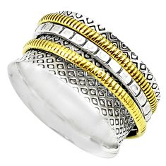 4.89gms victorian 925 sterling silver 14k gold spinner band ring size 6 p76935