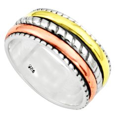 5.81gms victorian 925 sterling silver 14k gold spinner band ring size 6.5 p76942