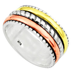 6.26gms victorian 925 sterling silver 14k gold spinner band ring size 8.5 p76944