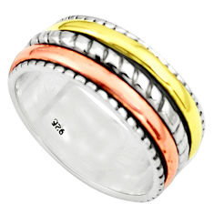 5.82gms victorian 925 sterling silver 14k gold spinner band ring size 6 p76958