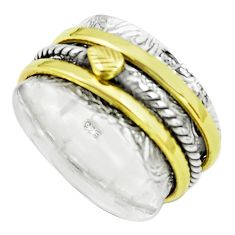 6.48gms victorian 925 sterling silver 14k gold spinner band ring size 9.5 p76960
