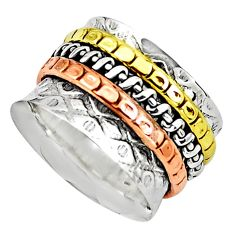 6.02gms victorian 925 sterling silver 14k gold spinner band ring size 6 p76990