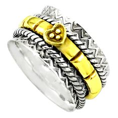8.03gms victorian 925 sterling silver 14k gold spinner band ring size 8.5 p77000