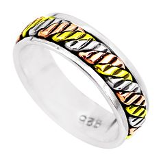 4.24gms victorian 925 sterling silver two tone spinner band ring size 6.5 c1196