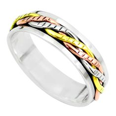 5.89gms victorian 925 sterling silver two tone spinner band ring size 12.5 c1198