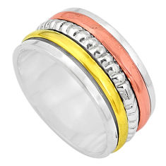7.02gms victorian 925 sterling silver two tone spinner band ring size 8 p32232