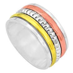 7.48gms victorian 925 sterling silver two tone spinner band ring size 9 p32233