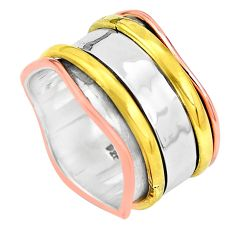 6.89gms victorian 925 sterling silver two tone spinner band ring size 6.5 p32243
