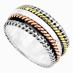 5.69gms victorian 925 sterling silver two tone spinner band ring size 9 p60483