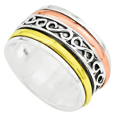 7.69gms victorian 925 sterling silver two tone spinner band ring size 6 p77062