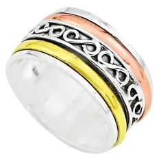 7.47gms victorian 925 sterling silver two tone spinner band ring size 6 p77077
