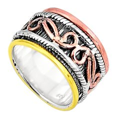 6.09gms victorian 925 sterling silver two tone spinner band ring size 7.5 p92524
