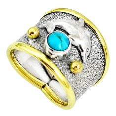 Victorian blue sleeping beauty turquoise 925 silver two tone ring size 7 p33355