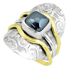 4.01cts victorian natural black hematite 925 silver two tone ring size 8 p61310