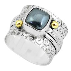 3.73cts victorian natural black hematite silver two tone ring size 7.5 p61283
